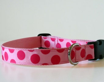Dog Collar - Pink Polka Dot Adjustable Dog Collar - Medium Dog