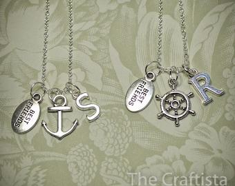 2 Best Friend Necklaces -- 2 Friendship Necklaces --  Anchor  Necklace -- 2 Sisters Necklace -- Bridesmaid Necklace -- Bridesmaid Gift