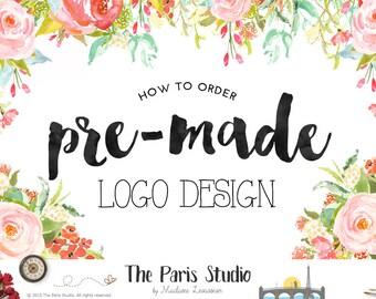 premade logo design watercolor logo photography logo vintage logo monogram logo boutique logo website logo blog logo restaurant logo 標誌設計