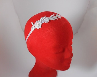 Bridal hair accessory: white bridal Headband with lace and pearls / wedding