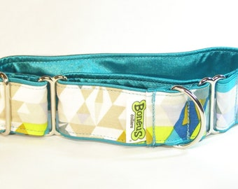 "Martingale Greyhound Collar Aqua Geometrics 1.5"" Satin Lined Collar"