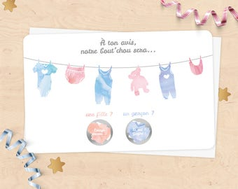Mini scratch card announcement pregnancy, baby gender, girl or boy - watercolor laundry thread collection