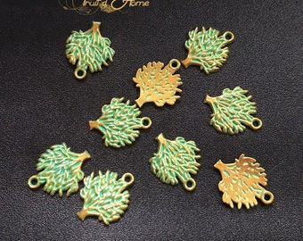 10 charms, tree gold patinated verdigris metal 20mm approx