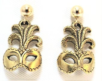 Gold Tone Pewter Mardi Gras Mask Charms on Gold Filled Ball Post Stud Earrings - 5028