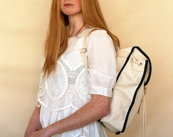 White Navy, Heap Line, Backpack, Retro, Vintage Inspired, Canvas and Leather Bag, Women's Backpack