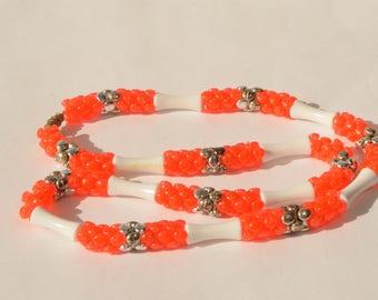 "Vintage Orange White Lucite Silver Tone Bead Necklace 22"""