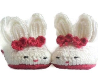 Women's Slippers, Women's Bunny Slippers, Pink, White