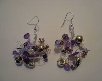 Earrings purple and silver