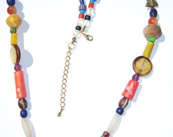 Boho African trade bead necklace