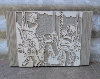 Hand Carved Linoleum Block Children On A Carousel Vintage Image Block Printing Art