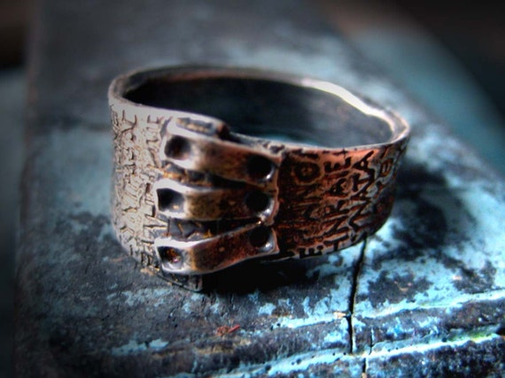 Patched Ring: Ancient script texture, size 7