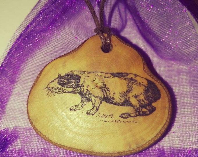Guinea PigCavia porcellus Cavy Necklace Earrings Wooden Charm Eco Friendly Handmade Personalised Charms Wood Hand made Jewellery #Etsy