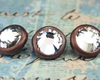 10 Crystal Hair Snaps - Round Copper Rim Edition -- Made with Swarovski Crystal Element Rhinestones