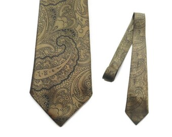 50s Mens Skinny Tie - Brass Paisley - Satin Tie - Paisley Tie - Paisley Skinny Tie - Paisley Tie - Shiny Skinny Tie - Men's Skinny Ties
