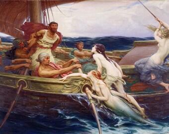James Herbert Draper: Ulysses and the Sirens. Fine Art Print/Poster. (003625)