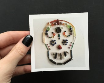 Day of the Dead Mask Mineral Design Sticker