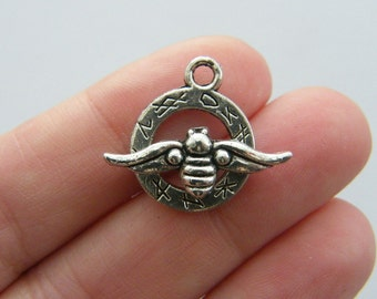 4 Bee toggle clasps antique silver tone FS90