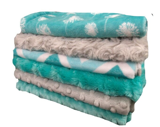 Turquoise Teal and Gray Floral Baby Burp Cloths, Minky Layette Accessories, Baby Burp Burp Rags
