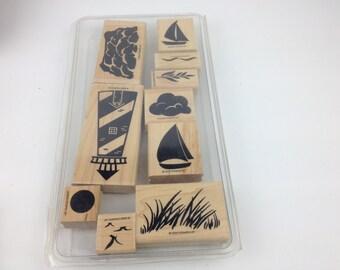 Stampin' Up 10 Piece Set - Lighthouse Sailboat Stamp Kit - Free Shipping