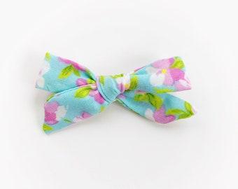 Blue Cherry Blossom Mini Gracie Bow ~ Spring Print