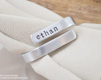 Custom Silver Napkin Ring - Personalized Housewarming Gifts - Custom Table Settings - Place Settings for Wedding Reception - Bridal Shower