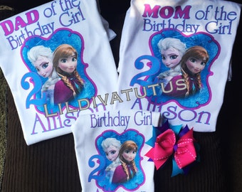 Frozen Mom, dad, brother, sister, grandma, grandpa etc. of the birthday girl shirt