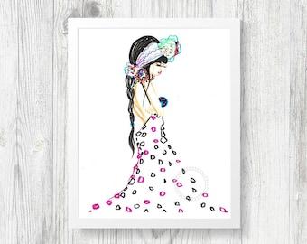 Bohemian Fashion Illustration Wall Decor Instant Digital Download Art Printable