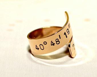 Latitude longitude bronze bypass ring with personalized coordinates - Customized Wrap Ring - RG908