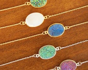 Druzy Bracelet Druzy Jewelry Bridesmaid Gift Quartz Bracelet Gemstone Bracelet Boho Jewelry Minimalist Bracelet Gold Bracelet Gift for Her