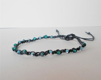 aqua blue bead anklet, adjustable ankle bracelet, turquoise teal crochet anklet, bohemian surfer style, festival jewelry, beachwear