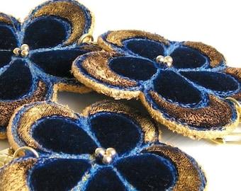 Keyring flower dark blue velvet golden handmade unique