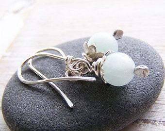 Gemstone and Sterling Silver Dangle Earrings, Amazonite Earrings, Blue Dangle Earrings, Drop Earrings, Silver Drop Earrings