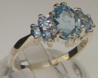 18K White Gold Natural AAA Quality Aquamarine Engagement Ring - Customizable