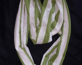 Beautiful green and white infinity scarf