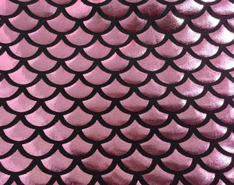 SALE Pink mermaid fish scale spandex fabric sold by the yard