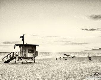 California Beach Photo - Photograph of Lifeguard Tower on California Beach