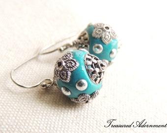 READY to SHIP, Turquoise Earrings, Turquoise Kashmiri Beads Earrings, Vintage Style earrings, Summer Earrings, Thank you gift for teacher