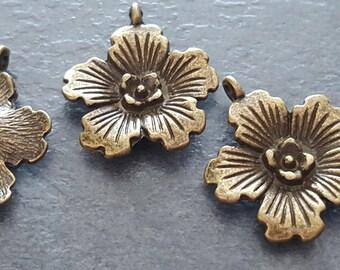 6 x 18 mm brass pendants, pendant bronze metal flower