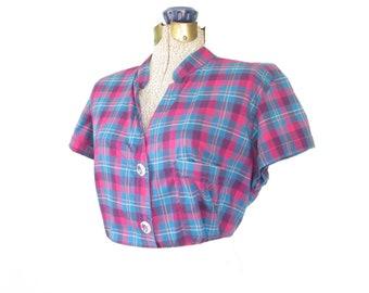 80s blouse * plaid blouse * 1980s button-up shirt * vintage summer blouse * large
