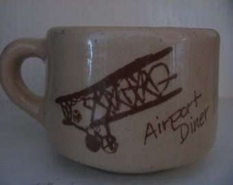 SALE Half Off Diner Mug Airplane Vintage Airport Diner Mug Bi Plane Graphics Gently Used c. 1950 Era Coffee Cup Vitrified China