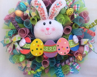 Adorable Easter Bunny wreath in pastel colors