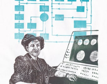 """Linocut portrait of trailblazing programmer and computer scientist Beatrice """"Trixie"""" Worsley, first person to earn a computer science PhD"""