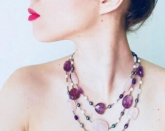 Kiri Fair Trade Amethyst and Rose Quartz Triplet Necklace