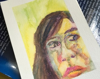 Original Watercolor Portrait Painting/ Illustration- Expression Study I