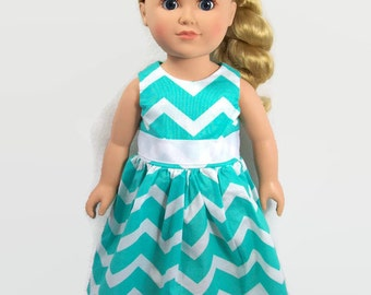 "18 Inch Doll Clothes - Trendy, Turquoise and White Chevron Dress - Made to Fit 18"" Girl Dolls Like American Doll Clothes"