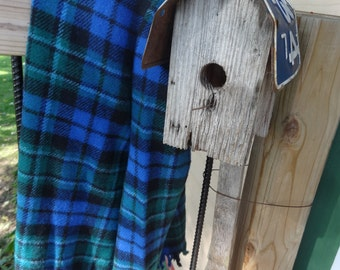 Vintage Wool Lap Blanket Blue Green Black