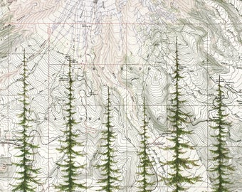 Mt Hood National Forest, Mount Hood painting, Mountain trees, Oregon mountain print, Portland wilderness mountain art topo map evergreens