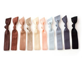 The Neutral Essentials Package - 10 Elastic Solid Color Hair Ties that Double as Bracelets by Mane Message on Etsy