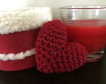 Crochet Puffy Heart, Red, Charity Donation, Catnip Upgrade Available