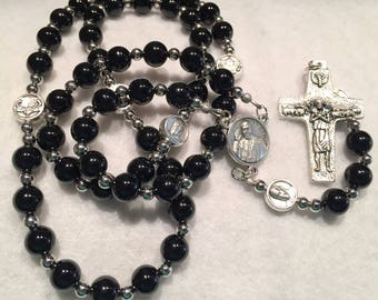 Pope Francis center with black onyx beads